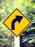 Curved Road Traffic Sign Royalty Free Stock Photography