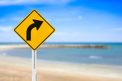 Curved Road Traffic Sign Stock Image