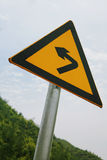 Curved Road Traffic Sign on  road Royalty Free Stock Photo
