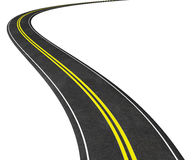 Curved Road  on white 3D illustration Royalty Free Stock Photo