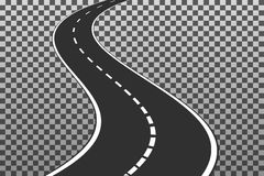 Curved road with white markings. Eps10. Vector illustration temp. Late isolated on transparent background vector illustration
