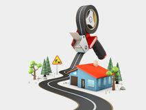 Curved road with white markings and tape dispenser. 3d illustration stock photo