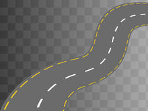 Curved road with white markings. Vector Royalty Free Stock Image