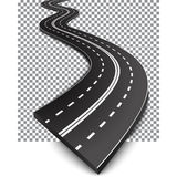 Curved road with white markings Stock Images