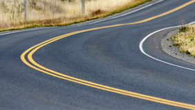 Curved Road with Yellow Line Royalty Free Stock Images