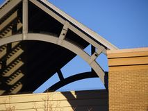 Curved roof support. Architectural detail of a curved line in a roof support Royalty Free Stock Images