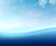 Curved sea surface. And sky background Royalty Free Stock Image