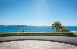 Curved sea view terrace. On a sunny day in Mallorca, Spain Royalty Free Stock Image