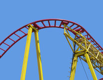 Curved section of roller coaster tracks. Royalty Free Stock Photo