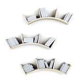 Curved shelves with books  on white background. 3d. Stock Image