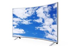 Curved Smart LCD Plasma TV or Monitor with Sky View. 3d Renderin. Curved Smart LCD Plasma TV or Monitor with Sky View on a white background. 3d Rendering Stock Photo