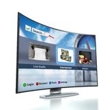 Curved Smart TV with OLED screen Stock Image