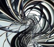 Curved spiral metallic futuristic abstract with interlinking bar. S and joints Stock Image