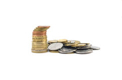 Curved stack of coins Royalty Free Stock Image