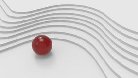 Curved stairs and red metal ball . 3d illustration Stock Image