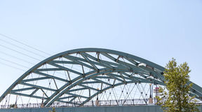 Curved Steel Bridge Under Blue Sky in Denver Royalty Free Stock Photography