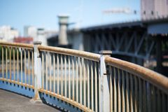 Curved steel railing more sky Royalty Free Stock Photography