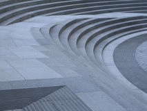 Curved steps. Concrete steps that are curved and sloped stock photos