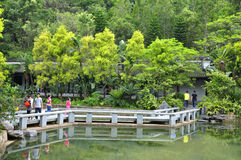 A curved stone bridge. The beauty of the Chinese garden has a bend in the stone bridge Stock Image