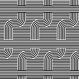 Curved striped pattern. Vector illustration. Geometric striped ornament. Monochrome background with interlaced striped tapes.Graph. Curved striped pattern Stock Photos