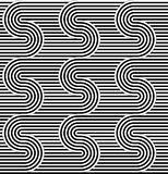Curved striped seamless pattern. Vector illustration. Geometric striped ornament. Monochrome background with interlaced striped ta. Pes. Graphic texture Stock Photos
