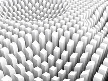 Curved surface formed white columns area array, 3d. Abstract digital background with curved surface formed by top sides of white columns area array, 3d Royalty Free Stock Photos