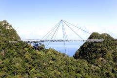 Curved Suspension Bridge. For pedestrians on Gunung (Mount) Mat Cincang, Langkawi Island, Malaysia. This suspension bridge was the winner of a prestigious Swiss Royalty Free Stock Photo
