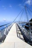 Curved Suspension Bridge. For pedestrians on Gunung (Mount) Mat Cincang, Langkawi Island, Malaysia. This suspension bridge was the winner of a prestigious Swiss Royalty Free Stock Photos
