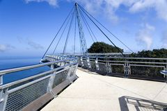 Curved Suspension Bridge Royalty Free Stock Photo