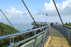 Curved suspension bridge on Langkawi island Stock Photos