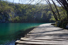 Curved timber walkway in Plitvice national park Royalty Free Stock Images
