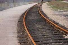 Curved train tracks Royalty Free Stock Images