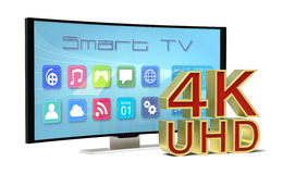 Curved tv uhd. One curved smart tv, with apps screen and the 4k uhd text (3d render Stock Image