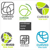 Curved vector icons Royalty Free Stock Image