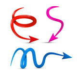 Curved Vector Red, Pink and Blue 3d Arrows Set Royalty Free Stock Images
