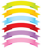 Curved Vector Ribbons in 6 Colors stock illustration