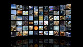 Curved video wall with icons. 3D rendering. A 3D rendered image of a video wall. An unrolling curved image screen which shows many 3D icons Stock Image
