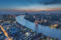 Curved view of  Chao Phraya River in Bangkok Stock Images