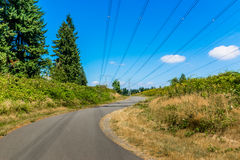 Curved walking path through transmission lines Stock Images