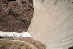 Curved Wall and Black Canyon at Hoover Dam royalty free stock photo