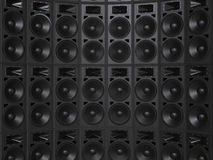 Curved wall of concert speakers - closeup Stock Image