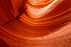 Curved wall inside the slot canyon Royalty Free Stock Photo