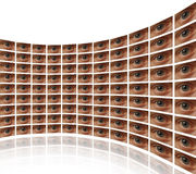 Curved wall of video screens with eyes. White background Stock Photos