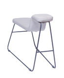 Curved white chair with metal legs isolated on white. Background Stock Images
