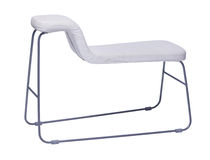 Curved white chair with metal legs isolated on white. Background Stock Image