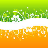 Curved white floral design. On colorful background Royalty Free Stock Image
