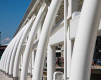 Curved White Steel Architecture at Rail Station Royalty Free Stock Image