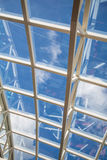 Curved White Steel Girders on Glass Ceiling Royalty Free Stock Photos