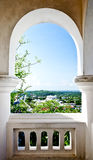 Curved window. On the mountain Stock Photo