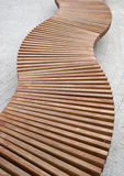 Curved wood bench Royalty Free Stock Photography